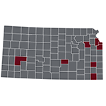 Kansas map with hightlighted counties that have adopted tobacco 21 policies