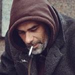 Homeless person smoking