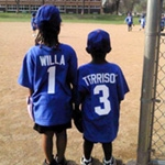 Kids at baseball game